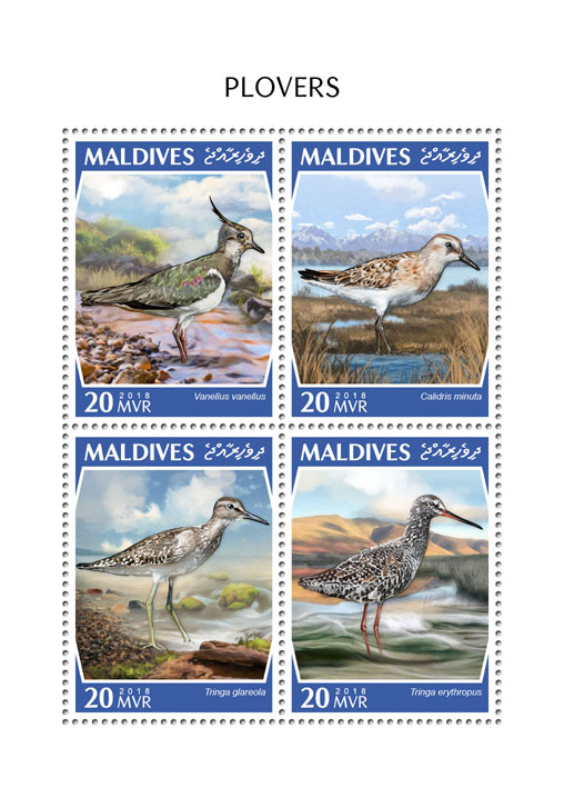 Plovers - Issue of Maldives postage stamps