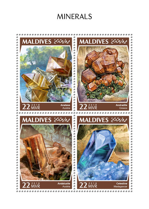 Minerals - Issue of Maldives postage stamps