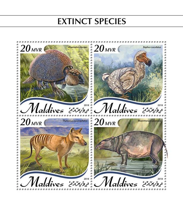 Extinct species - Issue of Maldives postage stamps
