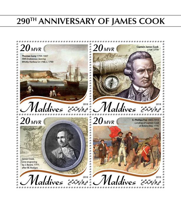 James Cook - Issue of Maldives postage stamps