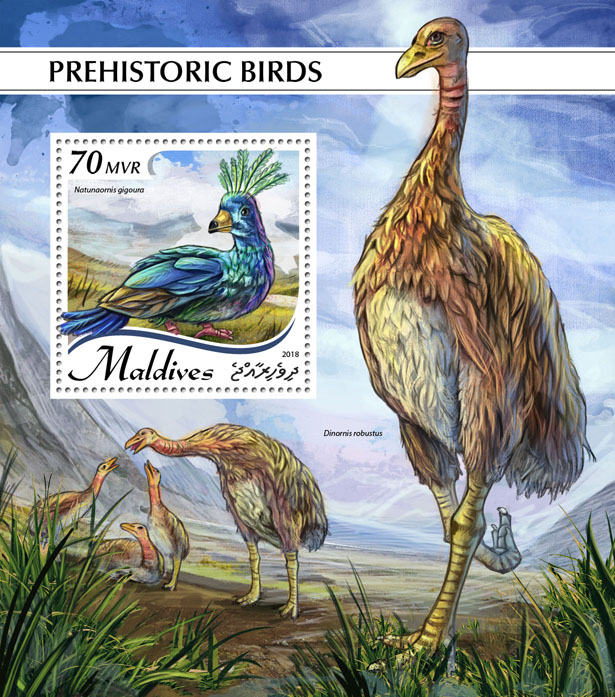 Prehistoric birds - Issue of Maldives postage stamps