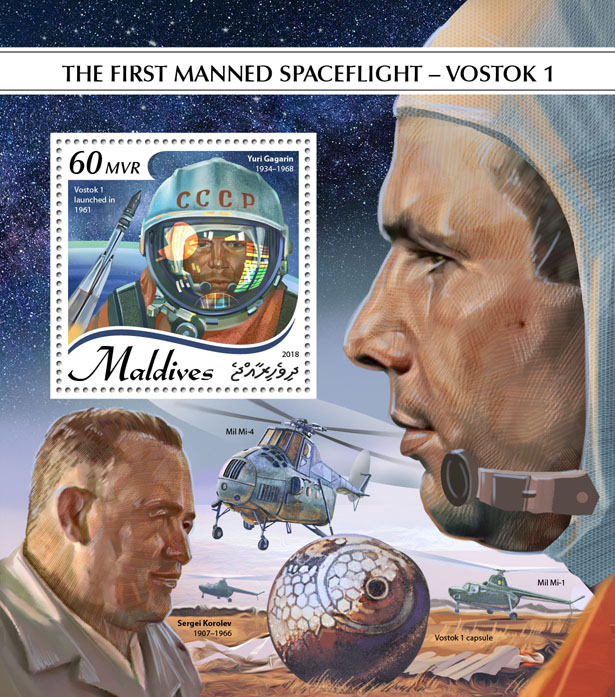 Spaceflight – Vostok 1 - Issue of Maldives postage stamps
