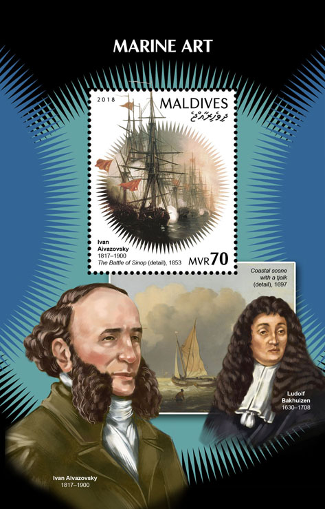 Marine art - Issue of Maldives postage stamps
