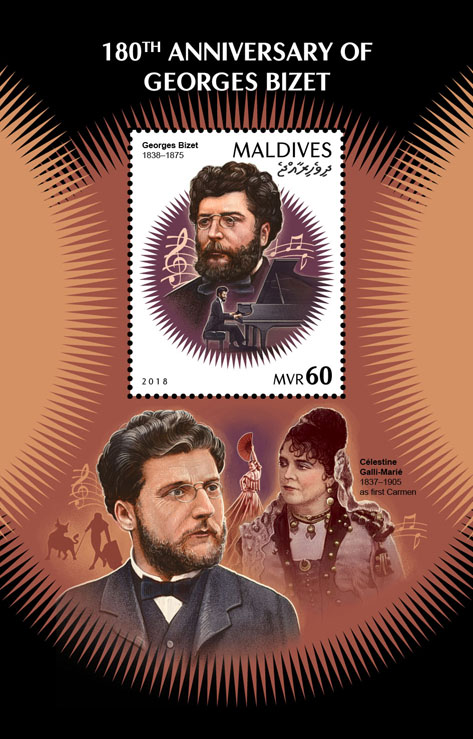 Georges Bizet - Issue of Maldives postage stamps