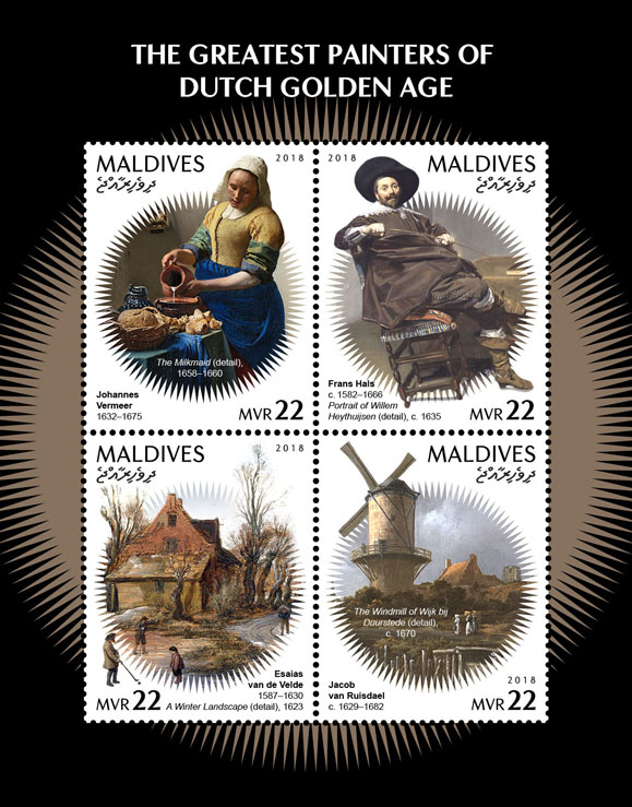 Painters of Dutch Golden Age - Issue of Maldives postage stamps