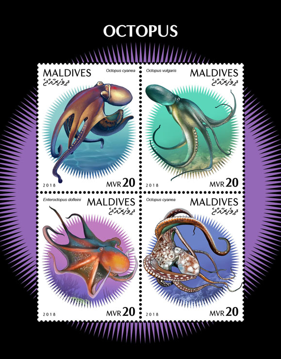 Octopus - Issue of Maldives postage stamps
