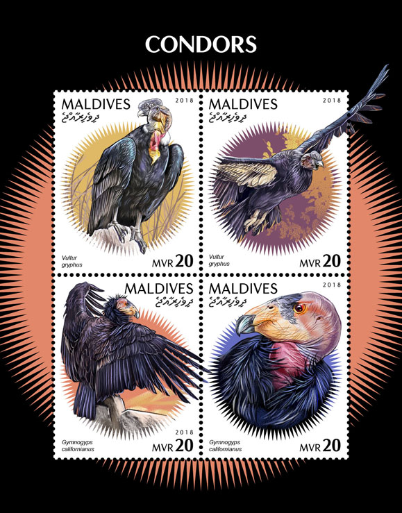Condors - Issue of Maldives postage stamps