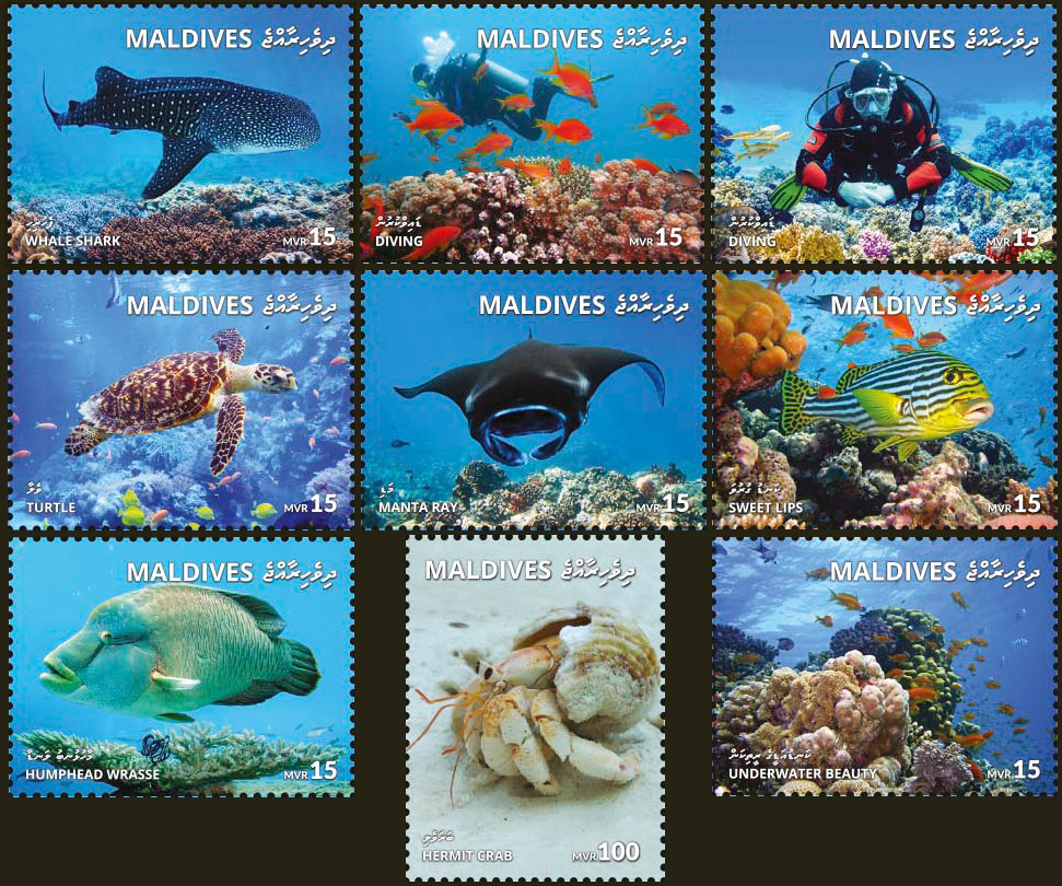 Marine life - Issue of Maldives postage stamps