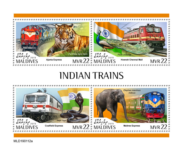 Indian trains - Issue of Maldives postage stamps