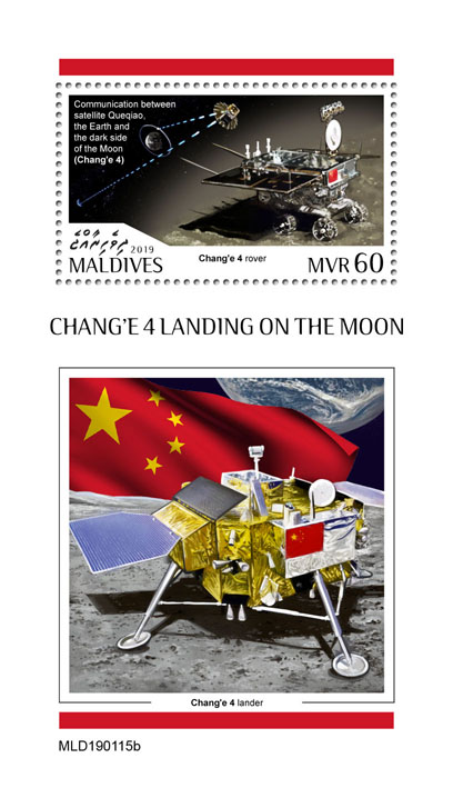 Chang'e 4 - Issue of Maldives postage stamps