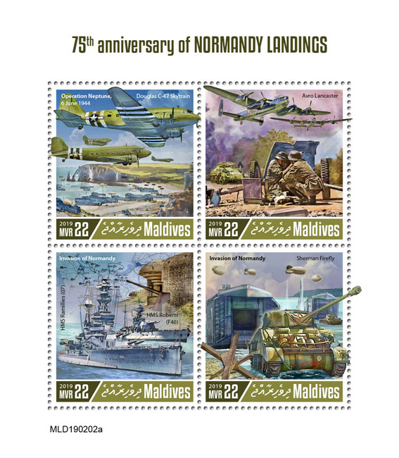 Normandy landings - Issue of Maldives postage stamps