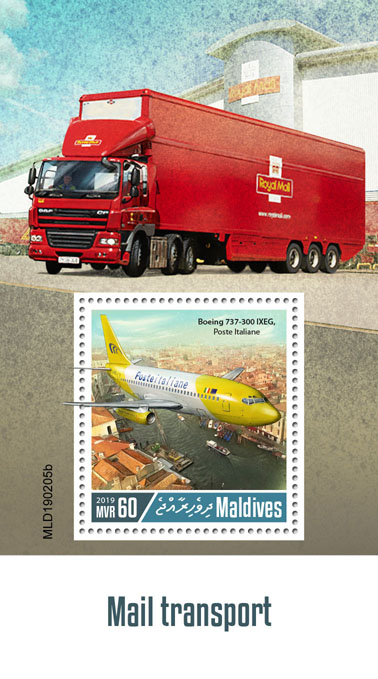 Mail transport  - Issue of Maldives postage stamps