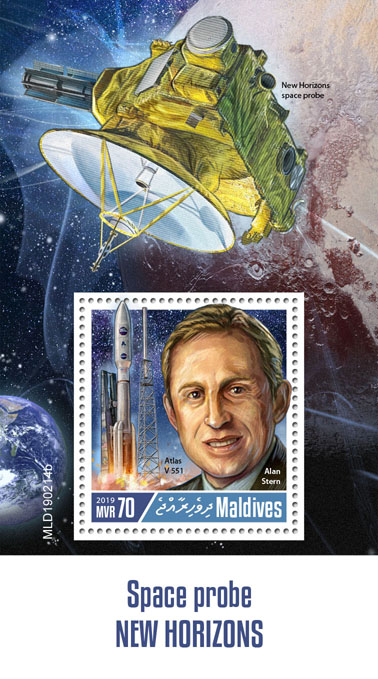 Space Probe New Horizons - Issue of Maldives postage stamps