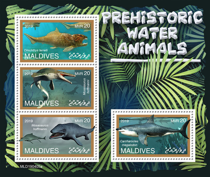 Prehistoric water animals - Issue of Maldives postage stamps