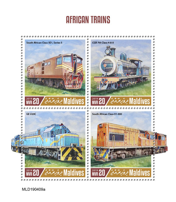 African trains - Issue of Maldives postage stamps