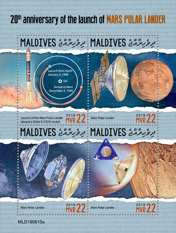 Launch of Mars Polar Lander - Issue of Maldives postage stamps