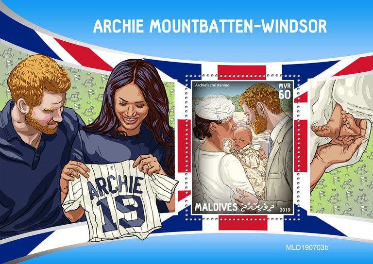Royal baby Archie - Issue of Maldives postage stamps