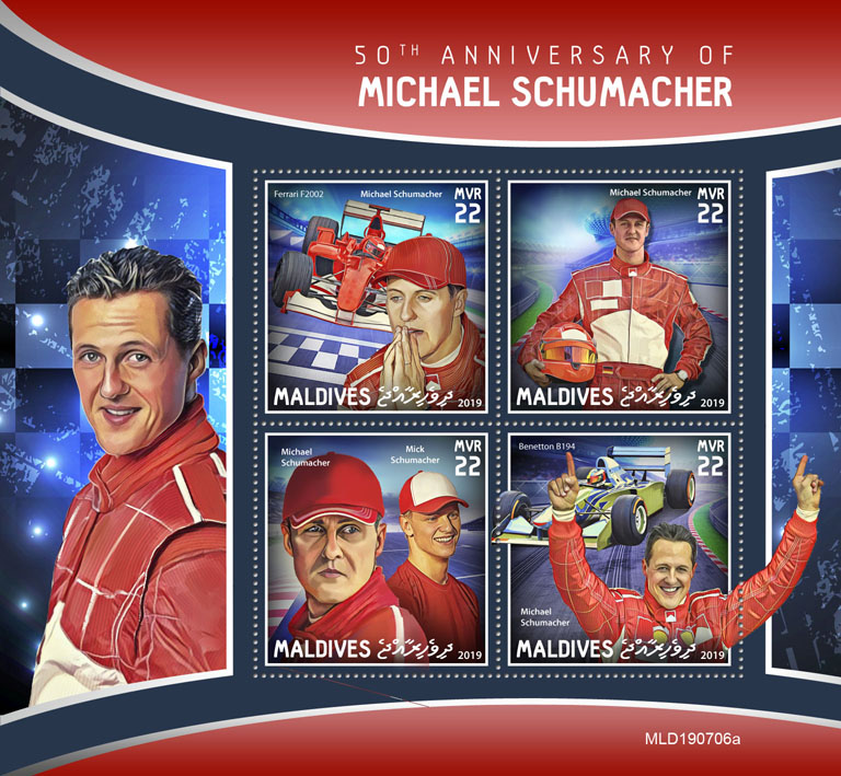 Michael Schumacher - Issue of Maldives postage stamps