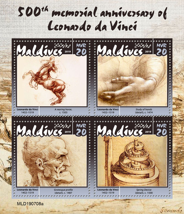 Leonardo da Vinci - Issue of Maldives postage stamps