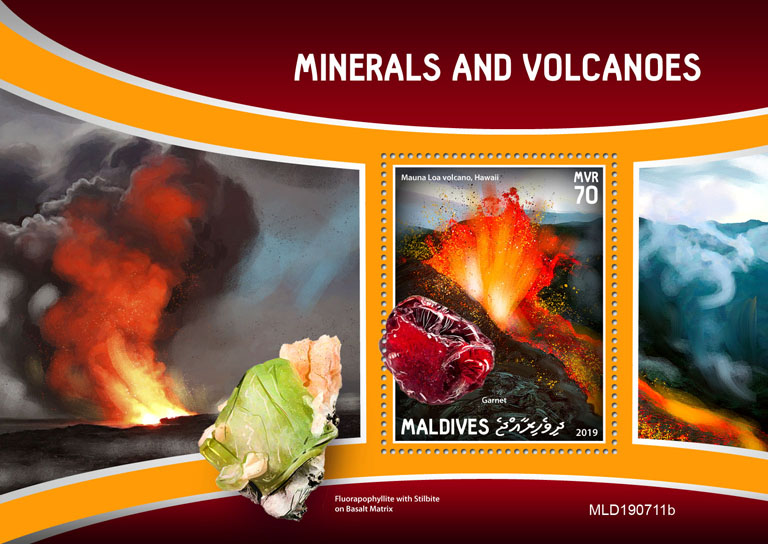 Minerals and volcanoes - Issue of Maldives postage stamps